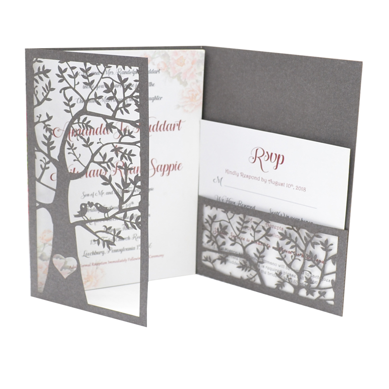 Us 33 0 Card Invitation Wedding Tri Fold Type Elegant Tree Laser Cut Invitation Wedding Invitation Card In Cards Invitations From Home Garden On