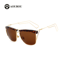 AOUBOU Brand Retro Square Polarized Sunglasses Women Stainless Steel Thin Hollow Green Mirror Sun Glasses Gafas de sol 7112