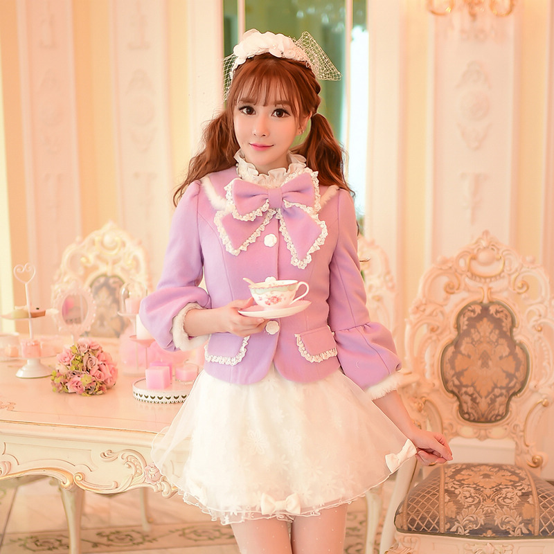 Princess sweet lolita coat Candy rain Candy rain winter 2015 sweet bowknot grid cloth lantern sleeve