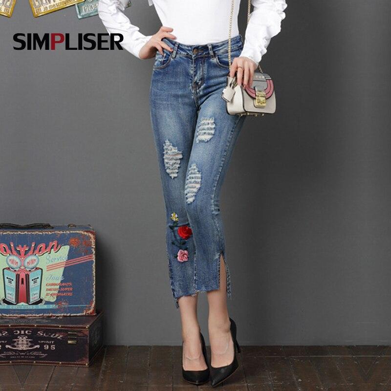 Plus Size 32 Women Denim Blue Ripped Jeans Pants Ankle Length Jeans Pencil Pants  Embroidery Mid Waist Trousers Femme Pantalon