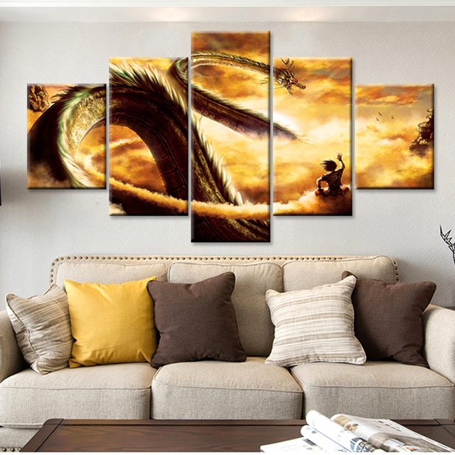 Modular Wall Home Living Room Art Painting 5 Panel Animation Dragonball Pictures Modern Hd Printed Canvas Framed
