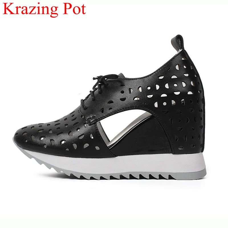 2019 fashion big size sneaker thick bottom lace up wedge women pumps high heels round toe