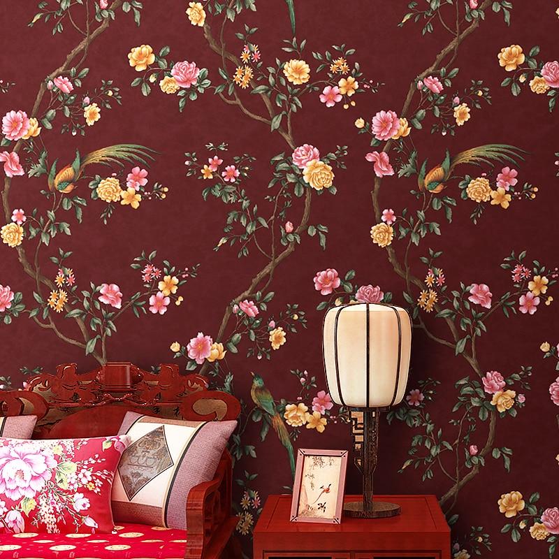 Moderne chinois fleur et oiseaux rouge Non-tissé papier peint nouveau classique chambre livre chambre TV fond papier peint rouleau