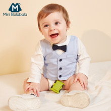 Mini Balabala Baby Bodysuit + Vest Fake Two-Piece Set with Bow Tie Long Sleeve Cotton One-Piece Newborn Infant Baby Boy Clothes(China)
