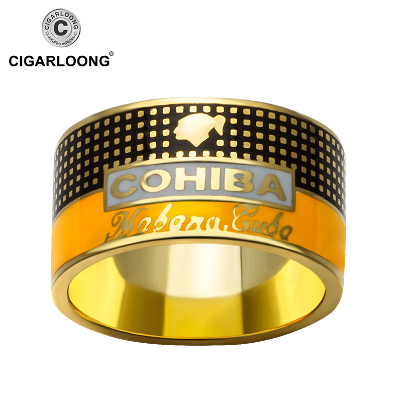 COHIBA Cigar Ring Gold-plated 925 Sterling Silver Ring Creative Jewelry CP-0031