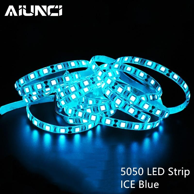 Ice Blue 5050 LED Strip DC 12V Waterproof / Non-waterproof 5M 60LEDs/m Flexible Strip Ribbon Light Tape