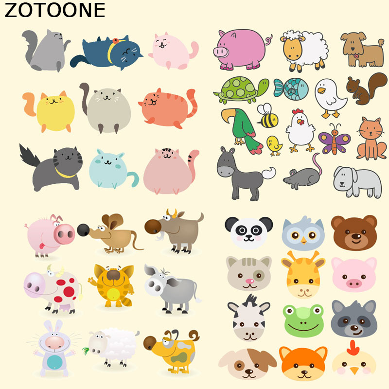 ZOTOONE Lovely Cartoon Animal Patches for Clothing Decoration Heat Transfer DIY Stripes Custom Patch Stickers Applique T shirt E in Patches from Home Garden