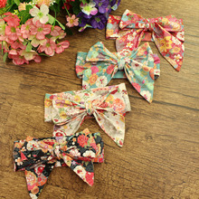 12pcs/lot Cotton Fabric Flower Print Big Bow Hairbands Dandelion Rose Floral Large Bow Headbands Girl Hair Accessories Headwear