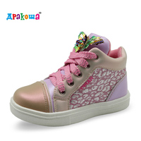 Apakowa 2017 New Kids Shoes Toddler Girls Sneakers High Tops Children Trainers For Girls Sports Casual