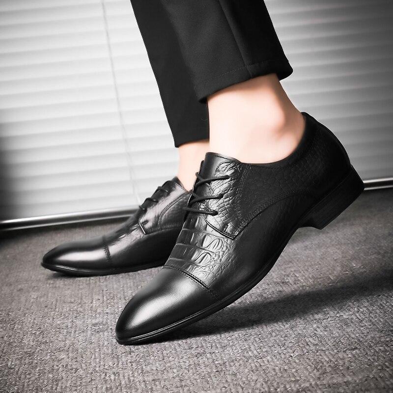Tallas grandes 48 zapatos de hombre de marca de cuero Casual de moda negro azul marrón zapatos planos para hombres zapatos de negocios de envío directo * 6628 - 6