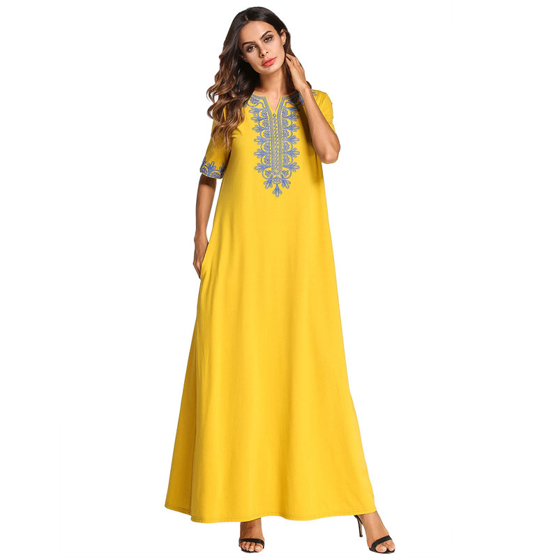 US $38.0 |Yellow Vintage Maxi Long dress Ethnic Embroidered Fashion urban  Casual Ramadan Womens Clothing Plus Size 4XL Loose Swing Dresses-in Dresses  ...