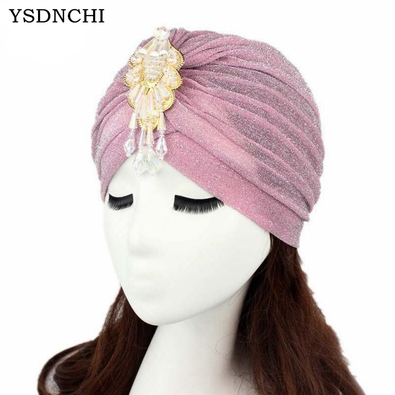 YSDNCHI Fashion Beanies Gold Plain Shiny Shimmer Glitter Women Head Scarf Caps India Hat Applique Decoration Cap Muslim Hijab 35colors silver gold soild india scarf cap warmer ear caps yoga hedging headwrap men and women beanies multicolor fold hat 1pc