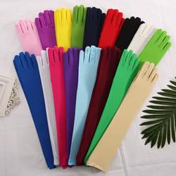 Эластичная атласная белая перчатка длинные перчатки для невесты черные красные длиной до локтя женские танцевальные свадебные перчатки