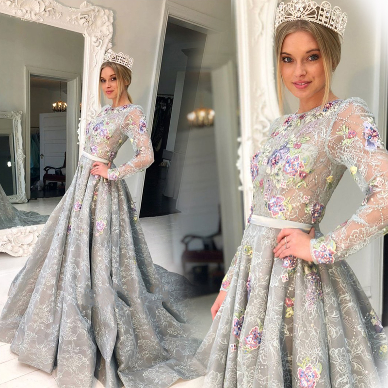 2018 Princess Lace Evening Gowns Custom Made Long Sleeves Prom Gowns A-Line Floor-Length Formal Party Dresses Платье