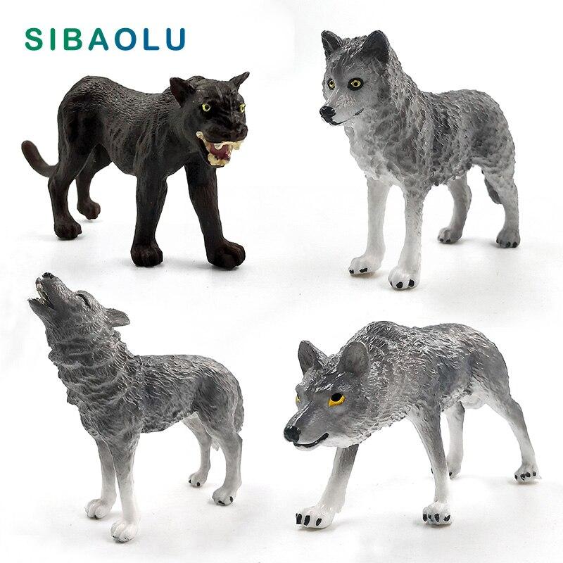 Simulation Leopard Wolf Black Panther Animal model figurine home decor miniature fairy garden decoration accessories gift toys figurine