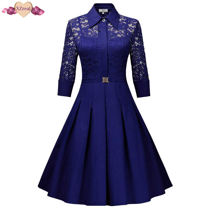 New Lace Patchwork Vintage Shirt Dress Women Autumn Rockabilly Party Dresses  Floral Crochet Bodycon Swing Tunic 97d25836cf55