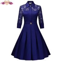 New Lace Patchwork Vintage Shirt Dress Women Autumn Rockabilly Party Dresses Floral Crochet Bodycon Swing Tunic