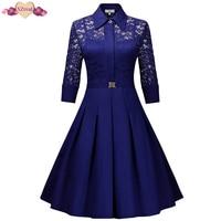 New Lace Patchwork Vintage Shirt Dress Women Autumn Rockabilly Party Dresses Floral Crochet Bodycon Swing Tunic
