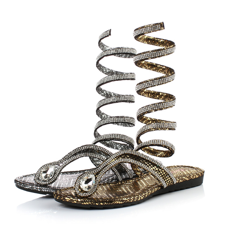 Fashion summer style knee high gladiator sandals women Flat Sandals Snake Punk Rhinestone Boot Women Sandals 35-42