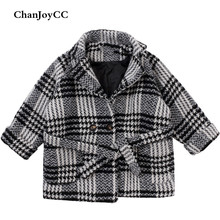 ChanJoyCC Winter Hot Sale Children's Coat Baby Girls Long Sleeve Fashion Plaid Thickening Warm Outerwear For Kids