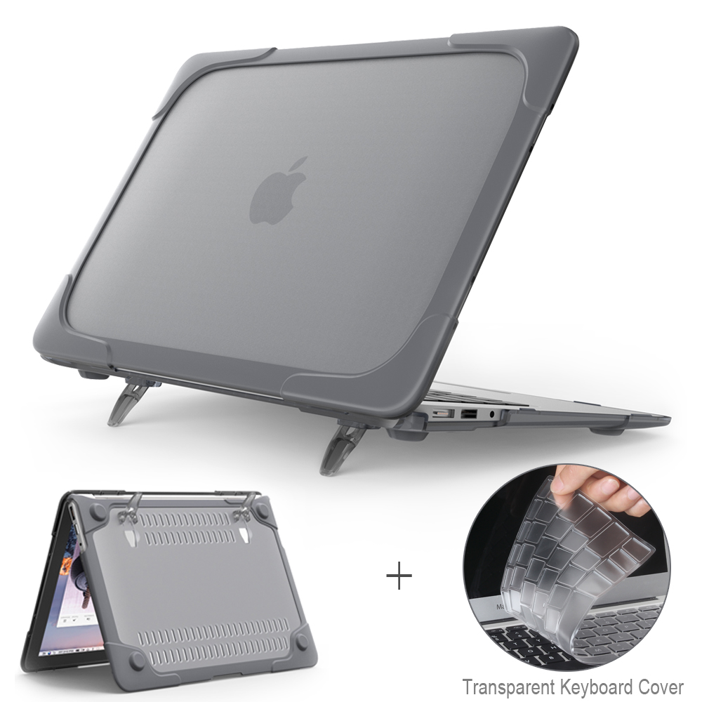 New Shockproof Outer Cover Case Foldable Stand For Macbook Air Pro Retina 11 12 13 15 Inch With Touch Bar + Keyboard Cover