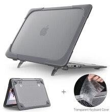 새로운 shockproof 외부 커버 케이스 접이식 스탠드 맥북 에어 프로 레티 나 11 12 13 15 인치 터치 바 + 키보드 커버
