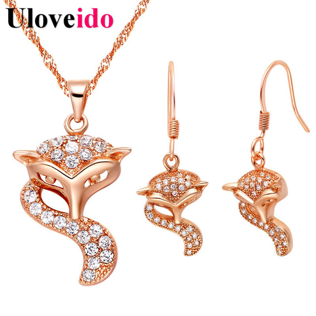 Uloveido Vintage Jewelry Set Crystal Rose Gold Color Fox Necklace