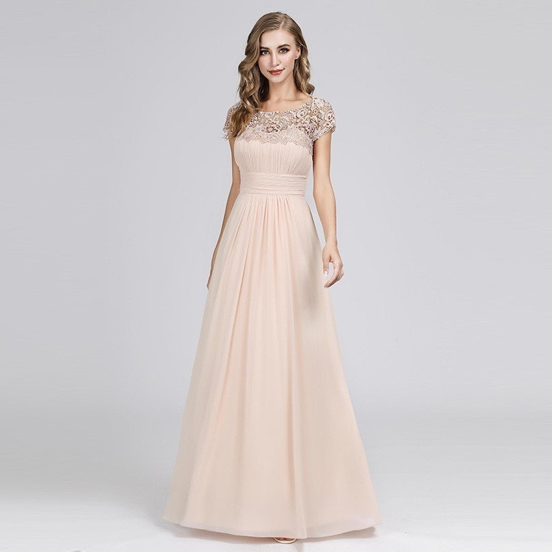 Pink Bridesmaid Dresses A-Line Lace Short Sleeve Elegant Long Dresses For Wedding Party For Woman Robe Demoiselle D'honneur 2019