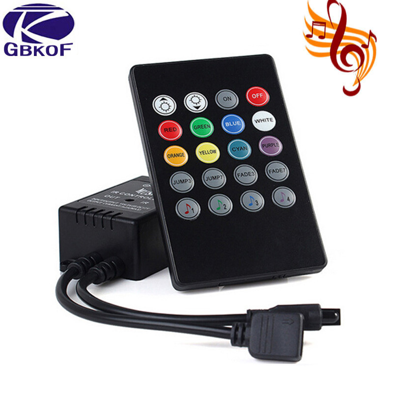 New 20 Music Keys IR Controller Black Remote Sound Sensor For RGB LED Strip High Quality