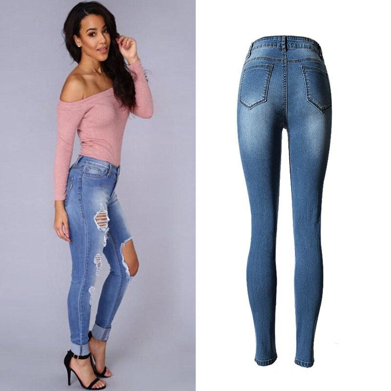 Niza Arrancaron Dam Blue Pantalones Cintura Mezclilla Diseño Sexy De Agujero Top Mujeres Los Blanqueados Vaqueros Alta vvqUr