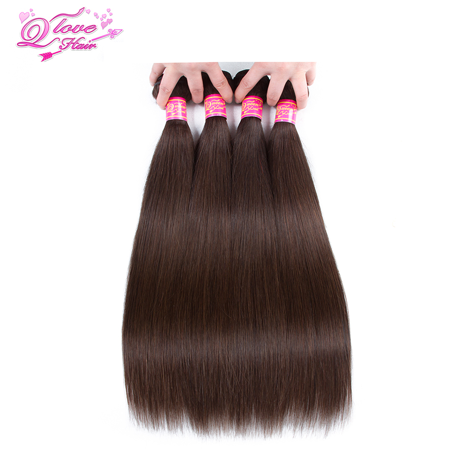 Queen Love Hair Pre-Colored Malaysian Straight Hair Weave Bundles Human Hair Bundles 4PC #2 Non Remy Hair Extension 10-26