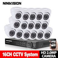 NINIVISION CCTV System 16CH 1080P DVR Kits HDMI HD White Dome 3000TVL Camera With AHD 1920
