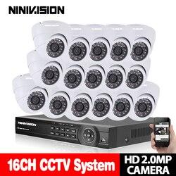 NINIVISION system CCTV 16CH 1080 P DVR zestawy HDMI HD biała kopuła 3000TVL kamera z AHD 1920*1080 2.0MP nadzoru zestaw kamery