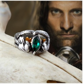 Lovely gift gothic movie European American fashion jewelry CUTE-color Ring Aragorn green stone quality king ring image
