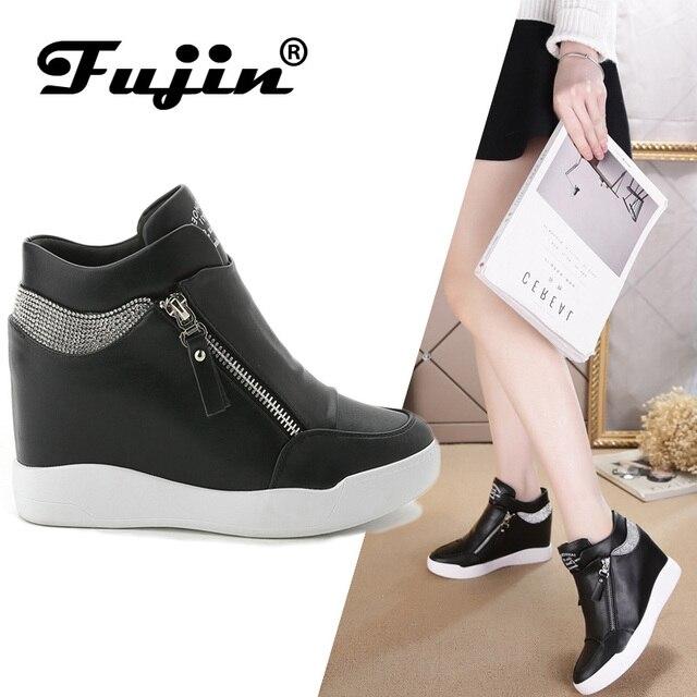 b8098e049f Fujin 2019 Moda Wedge Calçados Femininos Altura Crescente das mulheres  botas Sapatos botas das Mulheres sapatos