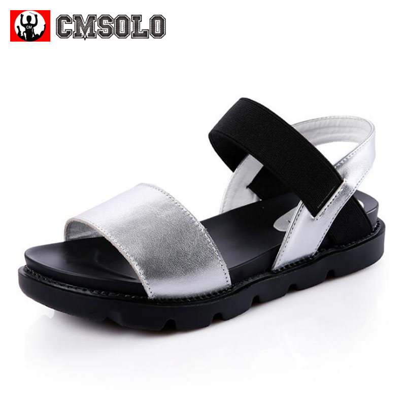 CMSOLO Kids Sandals New Summer Shoes For Girls Boys Leather Casual Princess High Quality Flat Children Student Kids Sandals 2017