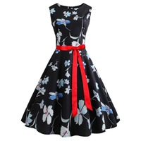 Women's round neck sleeveless summer black dress outfits flower large dress with lace factory