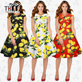 THYY Print Yellow lemon Knee-Length Casual Women's dress 2017 Cross collar Sleeveless Slim Print Summer Dresses Femme vestidos
