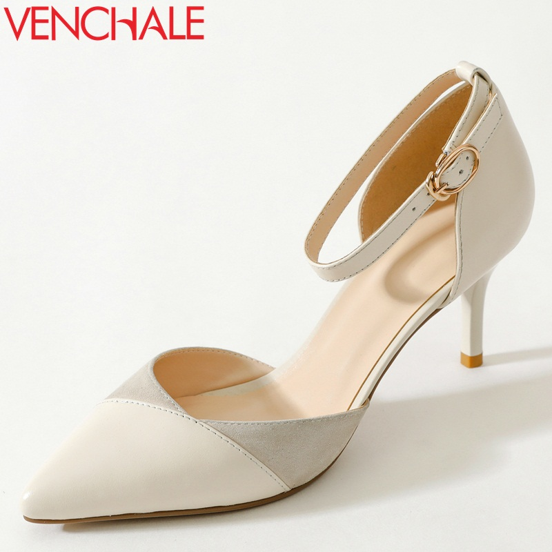 VENCHALE women shoes 2018 summer new sandals fashion heels height 7 cm two colors cover thin heel genuine leather shoes venchale two heels options sheepskin