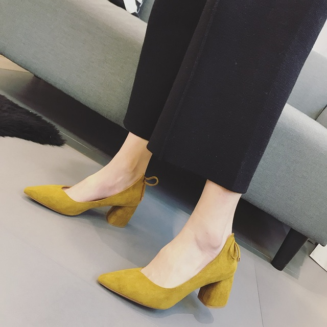 2017 Women's Pointed Toe High Heel Shoes Black Yellow 6.5cm Zapatillas Mujer Ladies Shoes Escarpins Femme Women Pumps