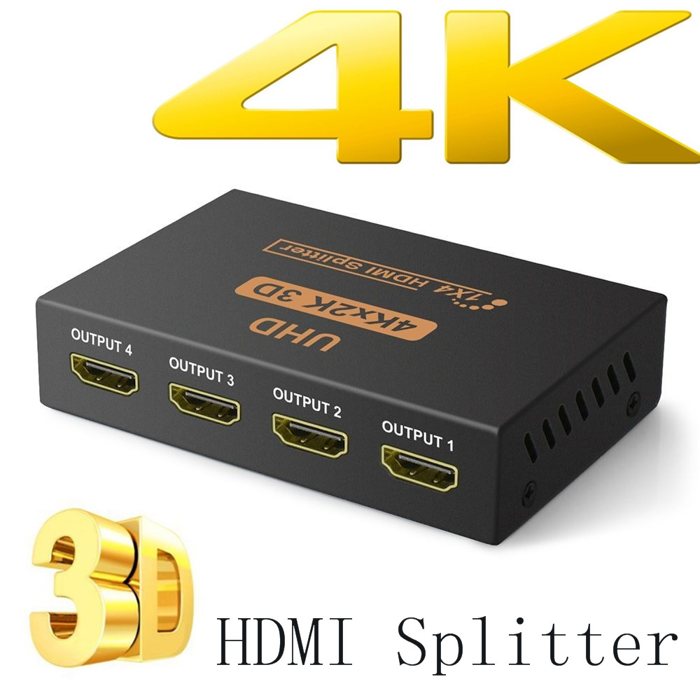 BESIUNI 4K HDMI Splitter Full HD 1080p Video HDMI Switch Switcher 1X2 1X4 Dual Display For HDTV DVD PS3 Xbox(China)