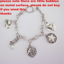 inferior defective products cowboy boots hat horse star bull head charm bracelet(China)