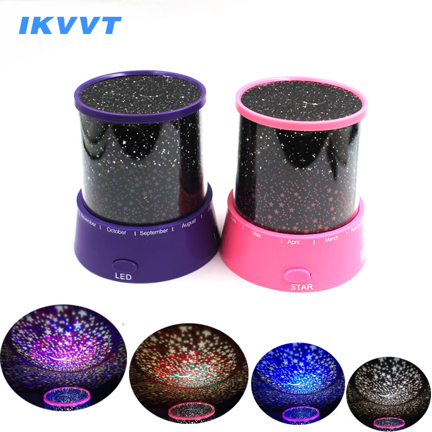 IKVVT LED Night Light Luminaria Projector Star Moon Lamp For Baby Kids Sleep Birthday Led Indoor Light USB Motion Fairy Colorful