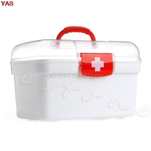 YAS Double Layer Health Box Medicine Chest Handle First Aid Kit Storage Organizer #H027#