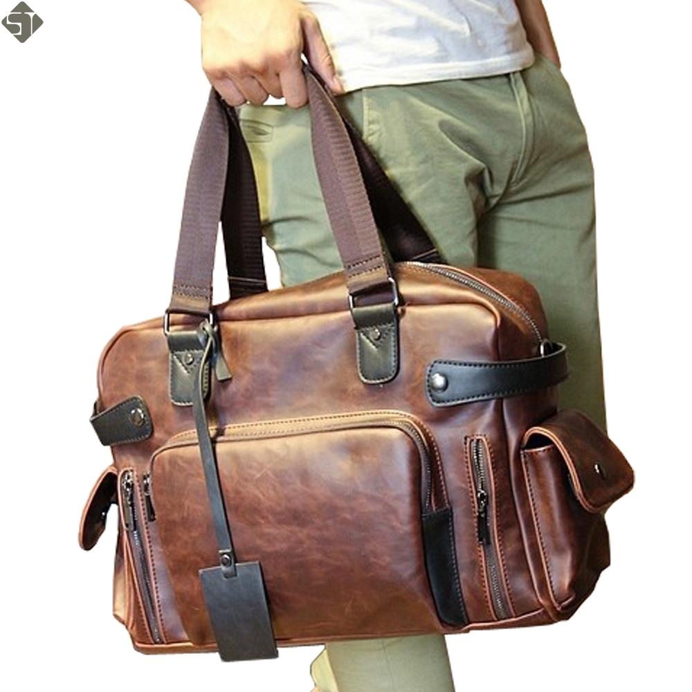 Men s real Crazy Horse Leather Travel Bags Luxury Style Men S Messenger Bag Retro Large