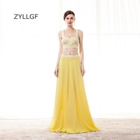 ZYLLGF Yellow Bridesmaid Dresses Sexy Sweetheart Chiffon 2 Piece Wedding Party Dress Gowns With Appliques Q127