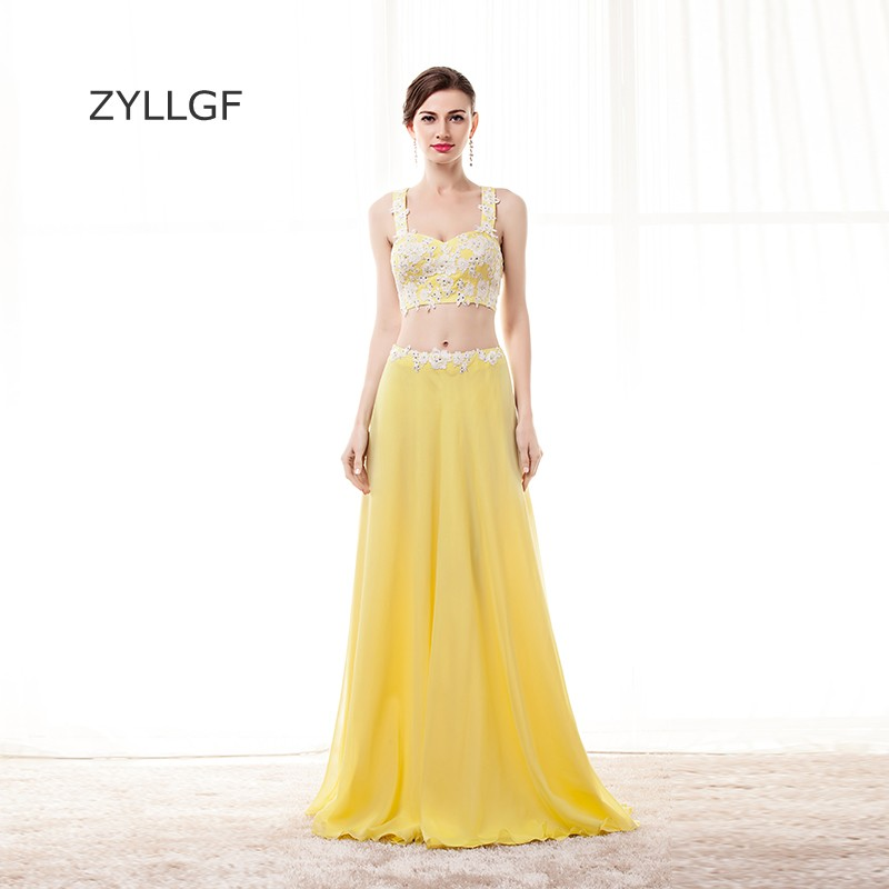 Zyllgf желтый Подружкам невесты пикантные Милая шифон 2 шт. Наряды на свадебную вечеринку платья с аппликациями Q127