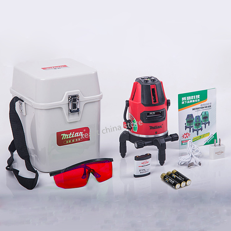 Ren and green Mtian laser level, 10X-light 5 lines 6 points 360 rotary cross laser line self leveling include lithium battery 1pc laser cast line machine multifunction laser line cross line laser rotary laser level 360 selfing leveling 5 line 4v1h3 point