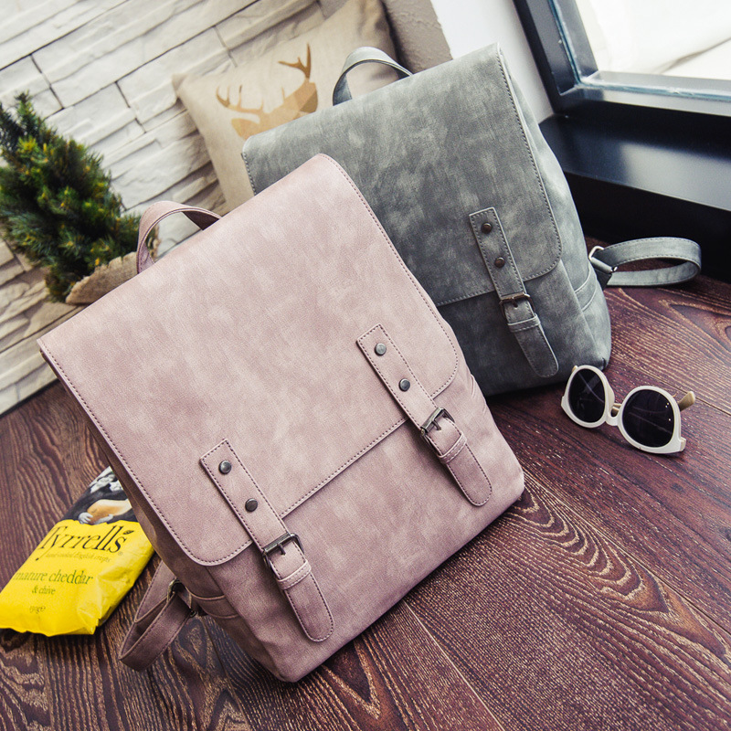RU BR The New College Style Ladies Backpacks Fashion Solid Laptops Bag Retro Women PU Leather