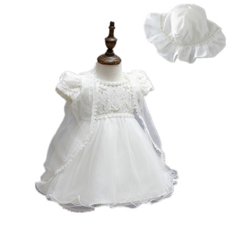 ФОТО BBWOWLIN Newborn Baby Girl Christening Gowns Dress Ivory Lace 3 Piece Suit for 0-2T Girls Christmas Birthday Party 90197